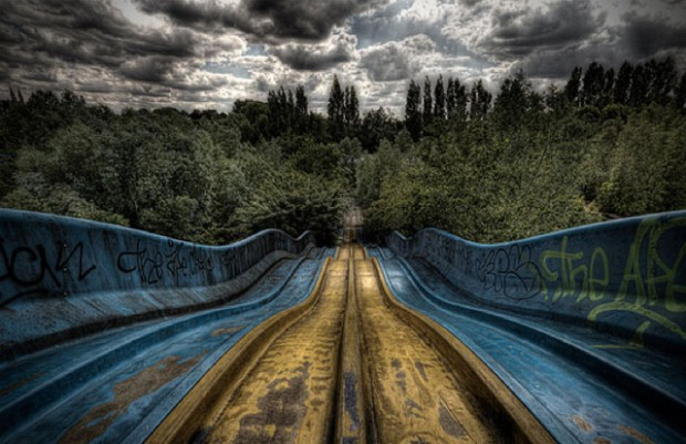Abandoned slide at an amusement park