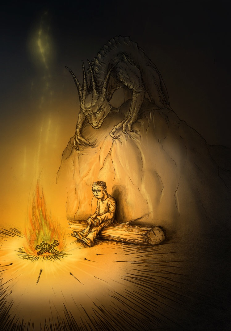 A boy sitting on a log by a fire in a cave. A clawed monster crouches over him